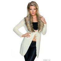 ELEGANT WRAP CARDIGAN WITH FAKE FUR COLLAR CREME-WHITE