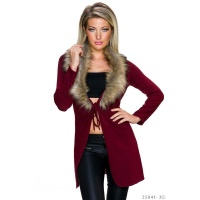 ELEGANT WRAP CARDIGAN WITH FAKE FUR COLLAR WINE-RED