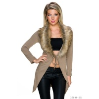 ELEGANTER WICKEL-STRICKMANTEL CARDIGAN MIT KUNSTFELL BEIGE