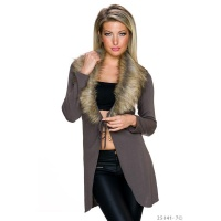 ELEGANT WRAP CARDIGAN WITH FAKE FUR COLLAR TAUPE
