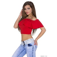 SEXY LATINA STYLE BELLY TOP WITH CARMEN NECKLINE AND FLOUNCE RED