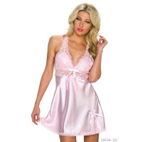 SEXY SATIN BABYDOLL NEGLIGEE WITH LACE INCL. THONG...