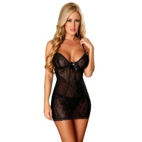 SEXY LINGERIE DRESS NEGLIGEE MADE OF LACE INCL. THONG BLACK