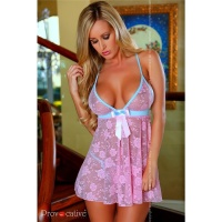 SEXY BABYDOLL NEGLIGEE MADE OF FINE LACE LINGERIE PINK