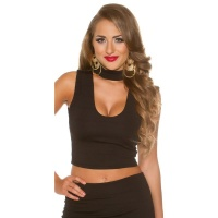 SEXY CROP TOP WITH DEEP NECKLINE AND STAND-UP COLLAR BLACK