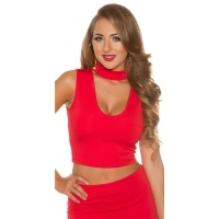 SEXY CROP TOP WITH DEEP NECKLINE AND STAND-UP COLLAR RED