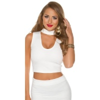 SEXY CROP TOP WITH DEEP NECKLINE AND STAND-UP COLLAR WHITE