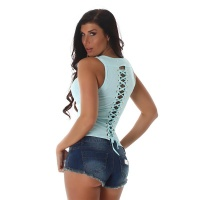 SEXY FINE RIB TANKTOP WITH LACING AT THE BACK MINT GREEN