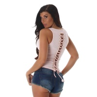 SEXY FINE RIB TANKTOP WITH LACING AT THE BACK ANTIQUE PINK