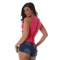 SEXY FINE RIB TANKTOP WITH LACING AT THE BACK FUCHSIA