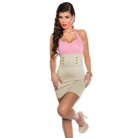 SEXY HALTERNECK MINIDRESS WITH DECORATIVE BUTTONS PINK/BEIGE