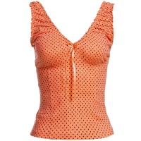 SWEET CROP TOP WITH POLKA DOTS AND FRILLS WAISTED ORANGE