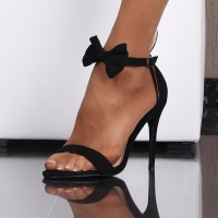 SEXY SANDALS HIGH HEELS WITH BUNNY EARS AND BOW BLACK