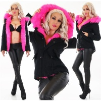 SHORT LADIES PARKA COAT WINTER JACKET WITH FAKE FUR...