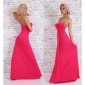 FLOOR-LENGTH GLAMOUR BANDEAU EVENING GOWN DRESS WITH TRAIN FUCHSIA