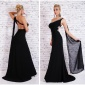 FLOOR-LENGTH ONE-SHOULDER CHIFFON EVENING GOWN WITH TRAIN BLACK