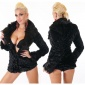 NOBLE TEDDY JACKET MADE OF SUPER SOFT AND CUDDLY FAKE FUR BLACK