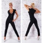 NOBLE SHORT-SLEEVED OVERALL JUMPSUIT WITH RIVETS BLACK