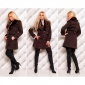 PRECIOUS LUXURY SHORT COAT WITH FAKE FUR DARK BROWN