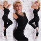 NOBLE OVERALL JUMPSUIT INCL. RHINESTONE NECKLACE AND BELT BLACK