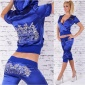 SEXY REDIAL SATIN JOGGING SUIT LEISURE SUIT WITH EMBROIDERIES ROYAL BLUE