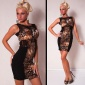ELEGANT EVENING DRESS MINIDRESS WITH LACE BLACK/BROWN