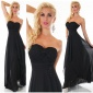 NOBLE FLOOR-LENGTH STRAPLESS GOWN EVENING DRESS CHIFFON BLACK