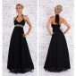 NOBLE FLOOR-LENGTH CHIFFON EVENING GOWN MAXI DRESS BLACK