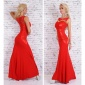 NOBLE FLOOR-LENGTH EVENING DRESS GOWN WITH ORNAMENTS RED