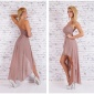 NOBLE ONE-SHOULDER EVENING DRESS WITH CHIFFON VEIL CAPPUCCINO