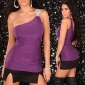 SEXY ONE-SHOULDER LONG TOP PURPLE