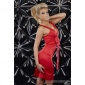 GLAMOUR SATIN EVENING DRESS WITH LOOP RED