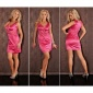PRECIOUS SATIN EVENING DRESS WITH LACE GLASS STONES FUCHSIA