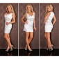 PRECIOUS SATIN EVENING DRESS WITH LACE GLASS STONES WHITE