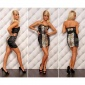 PRECIOUS SATIN BANDEAU EVENING DRESS WITH BELT BLACK/LEOPARD