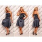 PRECIOUS SATIN BANDEAU DRESS EVENING DRESS WITH LACE BLUE/GREY