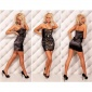 ELEGANT SATIN BANDEAU DRESS EVENING DRESS WITH LACE BLACK/GOLD