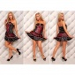 ELEGANT SATIN BANDEAU DRESS EVENING DRESS WITH LACE BLACK/RED