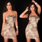 PRECIOUS SATIN BANDEAU DRESS WITH GLASS STONES LEOPARD