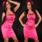 ELEGANT SATIN BANDEAU DRESS SHEATH DRESS WITH SEQUINS FUCHSIA
