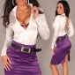 ELEGANT LONG-SLEEVED SATIN-BLOUSE WITH LACING WHITE