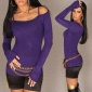 ELEGANT FINE-KNITTED CARMEN SWEATER PURPLE