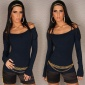 ELEGANT FINE-KNITTED CARMEN SWEATER NAVY