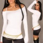 ELEGANT FINE-KNITTED CARMEN SWEATER WHITE