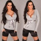 ELEGANT FINE-KNITTED SWEATER WITH SATIN BELT LIGHT GREY