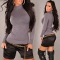 ELEGANT FINE-KNITTED SWEATER WITH STANDING COLLAR DARK GREY
