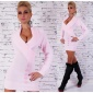 PRECIOUS KNITTED LONG SWEATER/MINIDRESS IN WRAP LOOK PINK