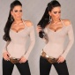 ELEGANT FINE-KNITTED OFF-THE-SHOULDER HALTERNECK SWEATER BEIGE