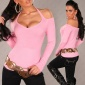 ELEGANT FINE-KNITTED OFF-THE-SHOULDER HALTERNECK SWEATER PINK