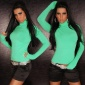ELEGANT FINE-KNITTED POLO-NECK SWEATER AQUA
